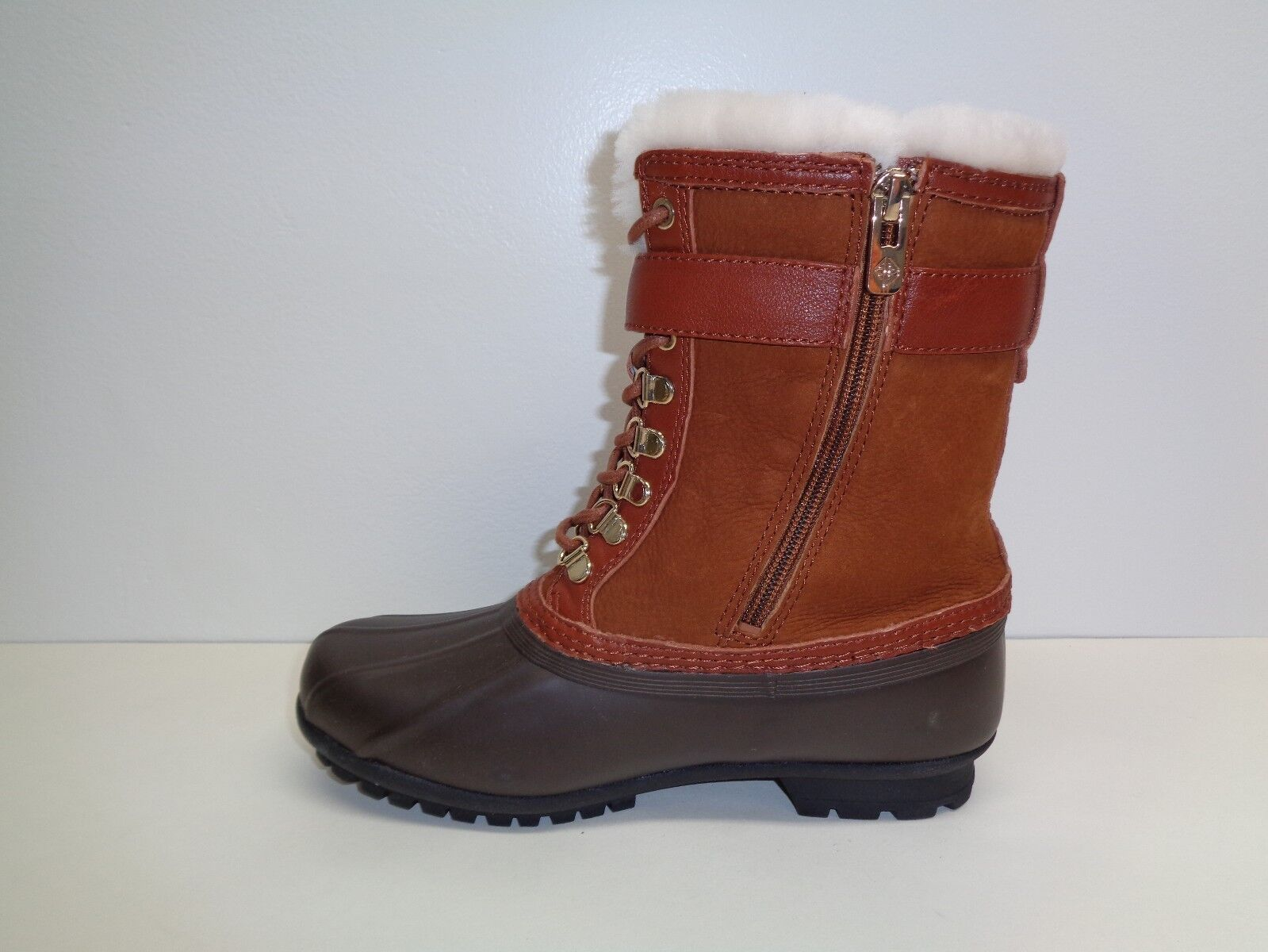 Antonio Melani Size 7 M LAWSYS Brown Brown Brown Leather Fur Duck Boots New Womens shoes 3d8d6a