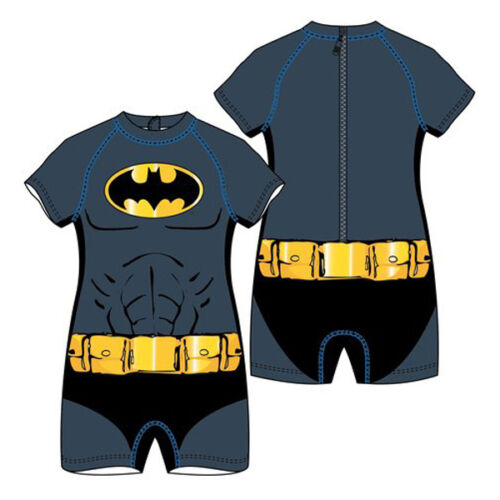 NEW KIDS BOYS OFFICIAL MARVEL BATMAN SWIM SUIT GREY AND BLACK 1-3 YEARS