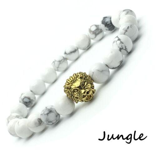 """Bracelet /""""JUNGLE/"""" Howlite blanc /& Tete LION doré Homme Femme marbre bracciale"""