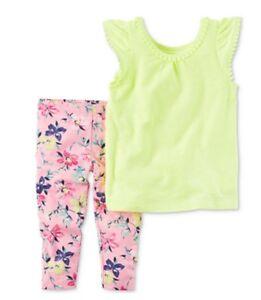 Carter S Baby Girl 2 Piece Pom Pom Top Capri Leggings Set Nwt Ebay
