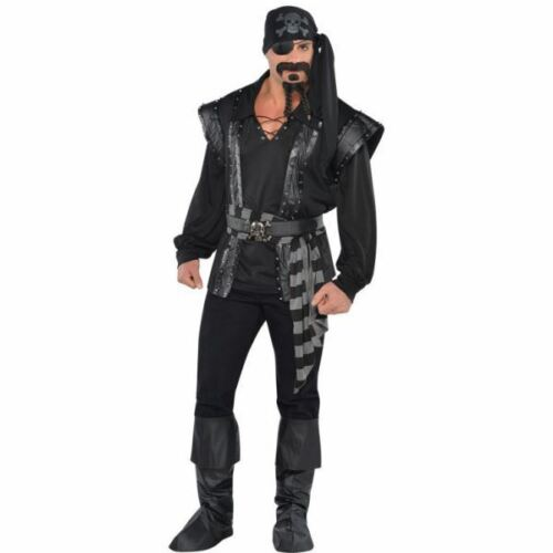Mens Dark Sea Scoundrel Black Beard Pirate Costume Fancy Dress