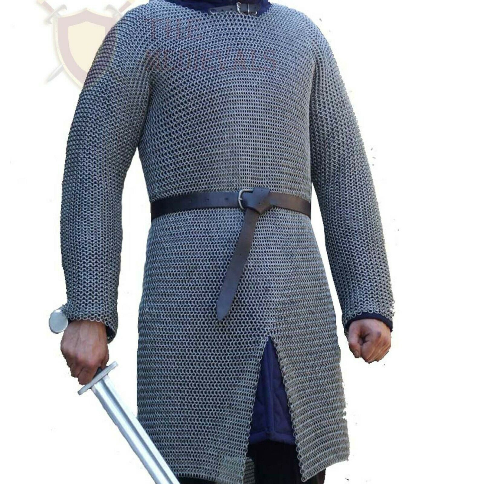 THE MEDIEVALS 10 MM ID Butted Chainmail Hauberk Full Sleeve Shirt Mild Steel 16G
