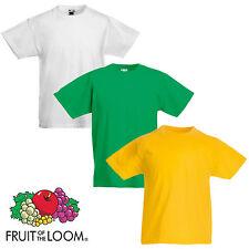 Fruit Of The Loom BOY/'S T-SHIRT 100/% SOFTSPUN COTTON TEE TOP PLAIN COLOURS KIDS