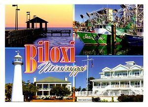 Biloxi Mississippi Postcard Lighthouse Fishing Boat Pier Yacht Club New Ebay