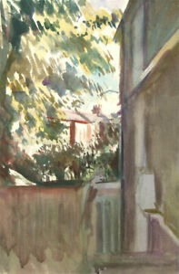 Howard-J-Morgan-b-1949-Signed-Contemporary-Watercolour-Garden-Summer-View