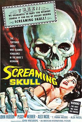 F12 Vintage la gritando cráneo 1950 Horror Cine B Poster volver a imprimir A4