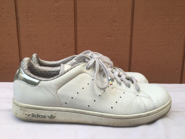 Adidas Stan Smith White Grey Leather Sneakers Size US Men 8.5 Women 10 EU  42 2/3