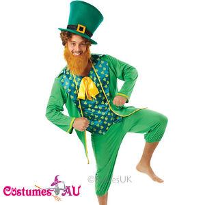 Image is loading Mens-Gents-Green-St-Patricks-Day-Costume-Irish-  sc 1 st  eBay & Mens Gents Green St Patricks Day Costume Irish Man Leprechaun Adults ...