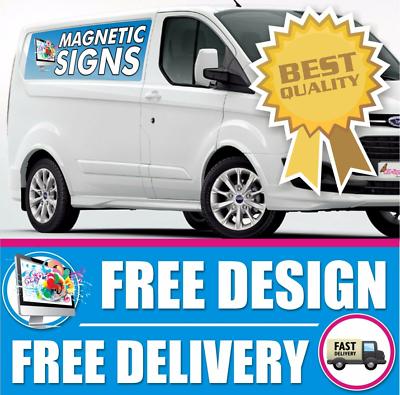 2 Magnetic Vehicle Car Van Lorry Signs FREE DESIGN-Laminated Printed Auto Logo