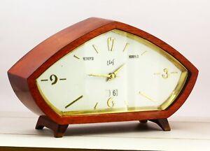 Vintage SVET collectible USSR mantel table electronic-mechanical clock Leningrad