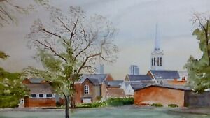 Peter-YOUNG-WATERCOLOUR-PAINTING-OF-TOWER-CHURCH-IPSWICH-CHRISTCHURCH-SUFFOLK