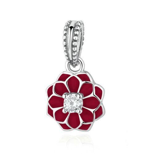 Red 1pcs Silver CZ European Charm Beads Fit 925 Necklace Bracelet Pendant