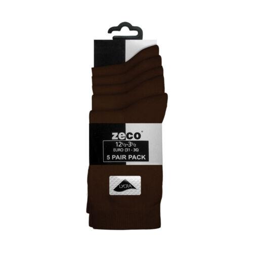 BS3194 Zeco School Uniform Girls Boys Smooth Knit Ankle Socks Lycra 5 per pack