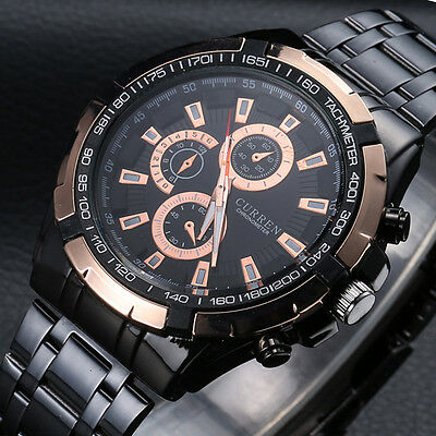 CURREN Fashion Men's Stainless Steel Analog Sport Military Quartz Wrist Watch