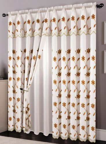 Embroidered Sheer Curtains with Attached Valance and Backing