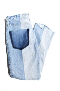 AG-Adriano-Goldschmied-High-Waist-Frayed-Straight-Jeans-Blue-Cotton-Size-26