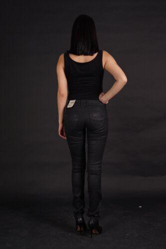 PEPE JEANS New Brooke Damen slim fit stretch Hose Schwarz Leder Optik