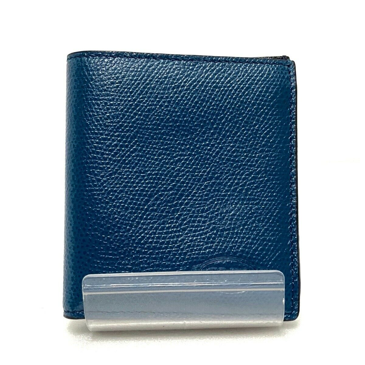 Auth TOD'S Blue Leather Bifold Wallet