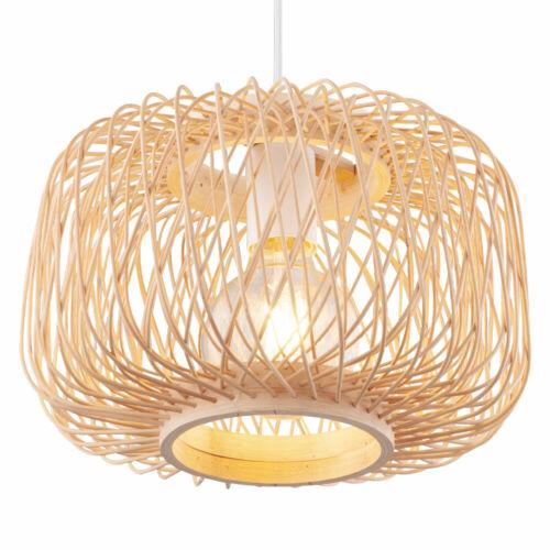 RGB LED Decken Pendel Lampe dimmbar FERNBEDIENUNG Bambus Geflecht Hänge Leuchte