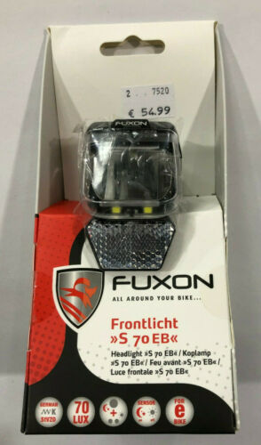 Fuxon S 70 EB LED Scheinwerfer E-Bike bis 70 Lux  6-12V DC schwarz neu