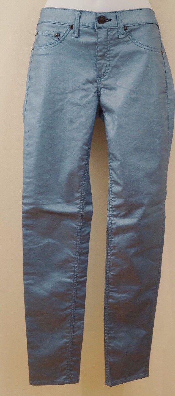 RAG & BONE JEAN Women's Metallic bluee Skinny Leg Leggings Trousers Jeans Sz29