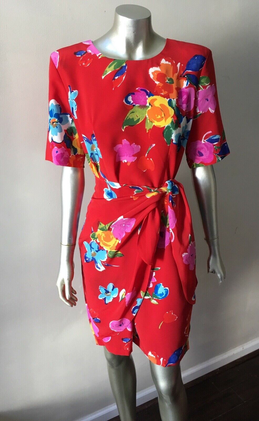 Floral Wrap Vintage 90s Retro Crepe Short Sleeve Mini Red Party Dress Sz S