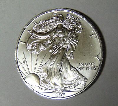 One Troy oz .999 Bullion 1997-1 oz American Silver Eagle Coin