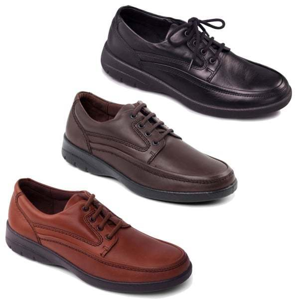 Padders FIRE Mens Leather (F Fit) Comfort Cushioned Smart Casual Lace Up shoes