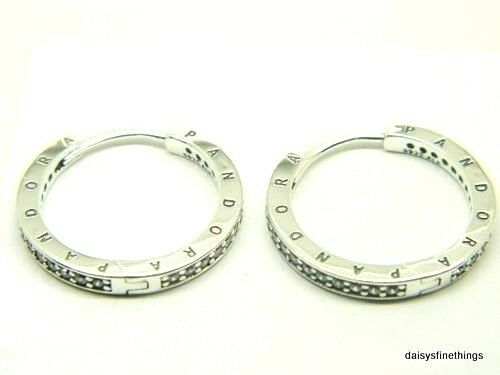 55d144611 PANDORA Sterling Silver Signature Ladies Hoop CZ Earrings 290558CZ for sale  online | eBay
