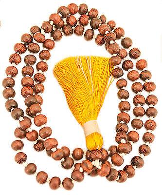RAKTA CHANDANA RED CHANDAN ROSARY ORANGE YELLOW Sandalwood Mala 108 + 1 Beads