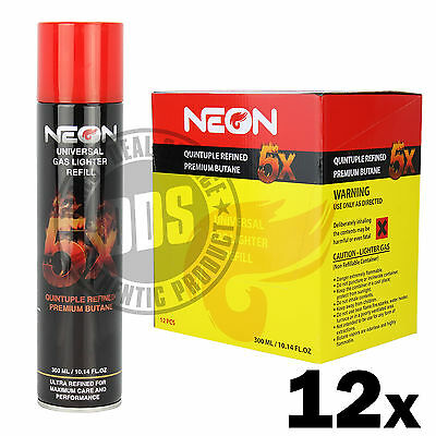 12 cans Neon 5x Filtered Butane Ultra Premium Refined Refill Lighter Cans 300mL