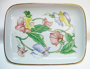 BEN-RICKERT-Decorative-Trinket-Dish-Tray-Floral-Design-Fine-China-Made-in-Japan