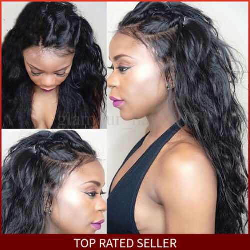 """Natural Wave Glueless 16"""" Natural Black Brazilian Remy Human Hair Lace Front Wig"""