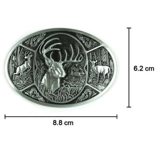Retro Embossed Northern European Elk Buckle West Cowboy Silver Belt Buckle