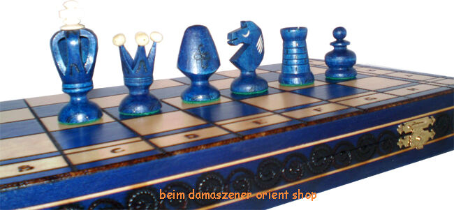 48X48 cm Royal King blueE SUPER HANDMADE CHESS WOODEN BOARD CHESSMEN pieces NEW E