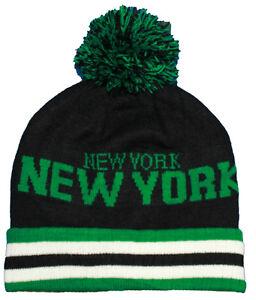 WOMENS MENS NEW YORK NY STRIPE BEANIE BOBBLE FOLD UP POM POM KNIT SKI WINTER HAT