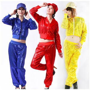 Women-Sequins-Costumes-Zipper-Street-Dance-Jacket-Performance-Hip-hop-Jazz-Top
