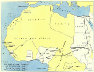 Details about West Africa WW2 Nigeria Sudan Egypt. Takoradi air  reinforcement route 1954 map