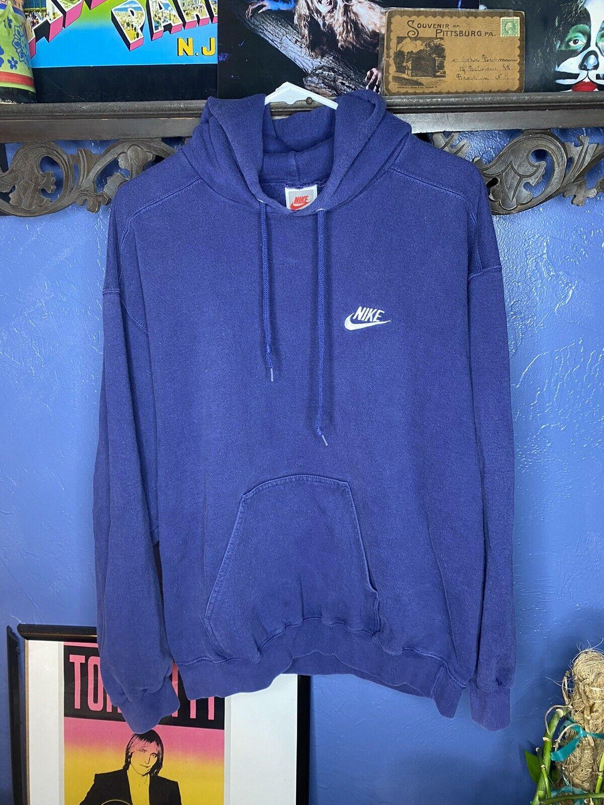 Vintage Nike Hoodie Sweatshirt 1990s Blue Medium … - image 1