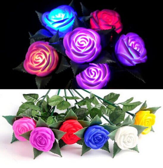 Waterproof Powered Rose Flower Lamps Stylish Party Garden Lawn LED Light