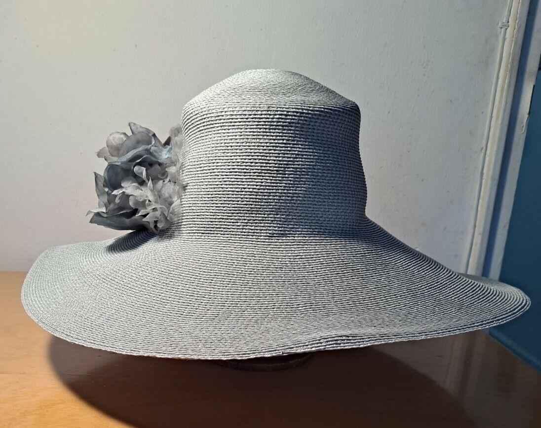 Vtg Patricia Underwood Pale Aqua Straw Hat/Gray S… - image 3
