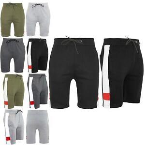 Mens-Side-Contrast-Panel-Running-Summer-Gym-Knee-Length-Fleece-Bottoms-Shorts
