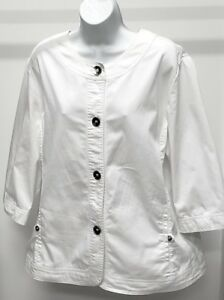 TanJay-Women-039-s-White-Solid-3-4-Sleeve-Denim-Jacket-Size-18