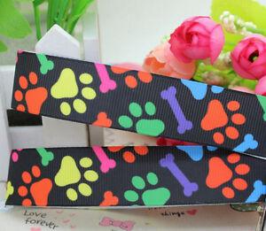 Colourful-paws-n-bones-22mm-wide-printed-grosgrain-ribbon-2-METRES