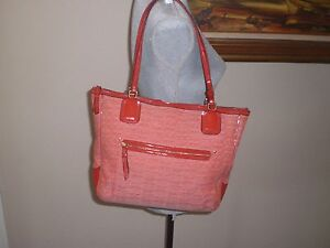 coach poppy signature c oxford tote shoulder bag red tomato 25051 rh ebay com