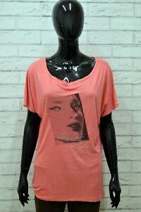 Maglia-GUESS-Donna-Taglia-Size-XL-Maglietta-Blusa-Shirt-Woman-Manica-Corta-Rosa