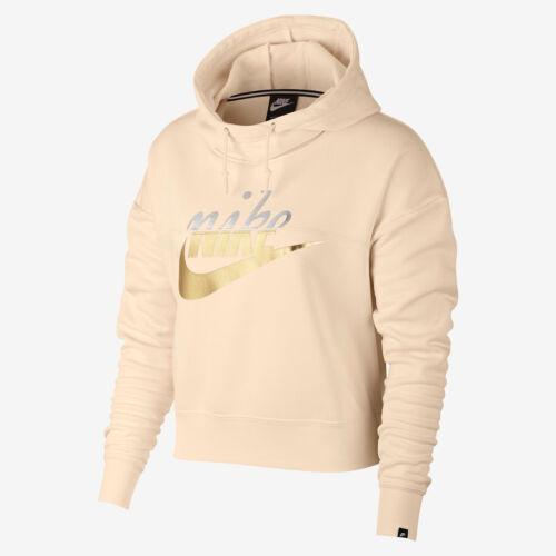 Metallico S Dorato Nike Cappuccio Abbigliamento Con Pullover Donna Sportivo OCwg1Iq