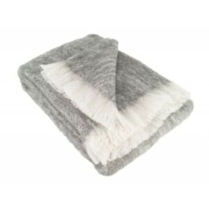 Australian Alpaca Connection Brushed Throw Grey/Cream
