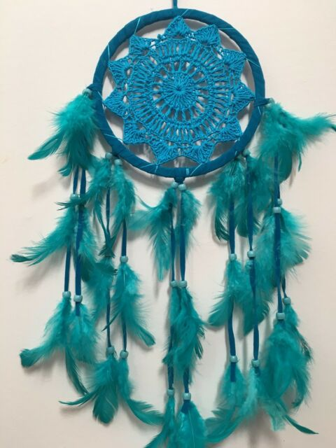 LOVELY AQUA CROCHET DREAM CATCHER 16 CM WEB BOHO 57 CM TOTAL LENGTH