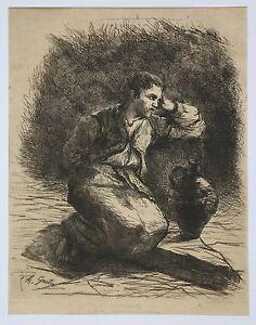 Armand Gautier (1825-1894) Le Prisonnier Eau-forte Lille Gefangene Prisoner 囚徒